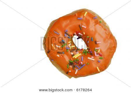 Orange Glazed Donut With Rainbow Sprinkles