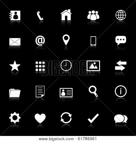 Contact Icons With Reflect On Black Background