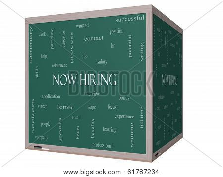 Now Hiring Word Cloud Concept On A 3D Cube Blackboard