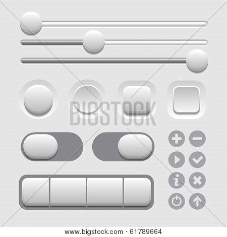 User Interface Elements Set on Light Background. Vector
