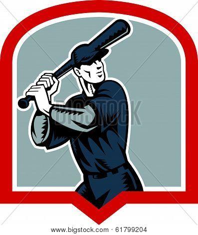 Baseball Batter Batting Woodcut Shield
