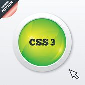CSS3 sign icon. Cascading Style Sheets symbol. Green shiny button. Modern UI website button with mouse cursor pointer. Vector poster
