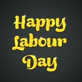 Stylish golden text Happy Labour Day on grey background, can be use as flyer, banner or poster.  poster