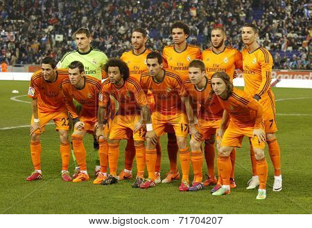 BARCELONA - JAN, 21: Real Madrid lineup before the Spanish Kings Cup match between Espanyol and Real Madrid at the Estadi Cornella on January 21, 2014 in Barcelona, Spain