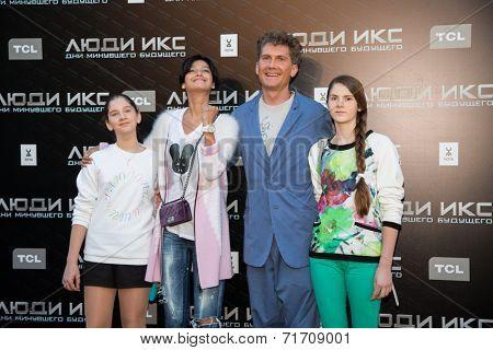 MOSCOW, RUSSIA, May, 13: Ilya Bachurin, Ravshana Kurkova with family. Premiere of the movie