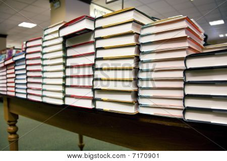 Stack Of Books At Bookstore