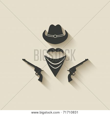 cowboy hat and gun