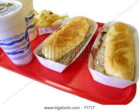Fast Food On Red Tray
