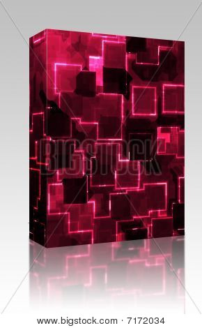 Software package box Square glowing abstract background light pattern illustration poster
