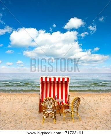Lonely Beach Chair In Cafe On The Baltic Sea