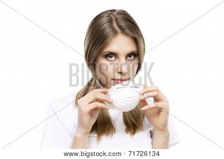 Girl With Protective Mask