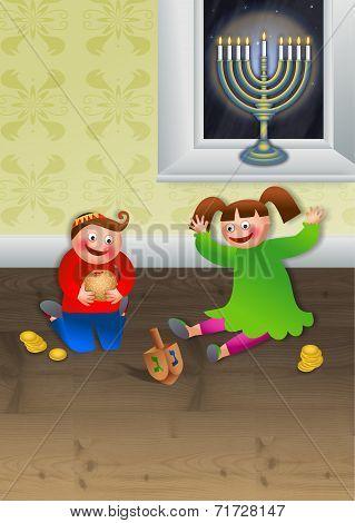 Children Celebrating Chanukah
