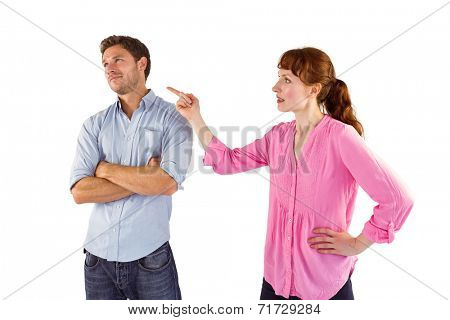 Woman arguing with uncaring man on white background
