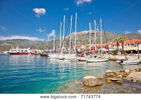 Nydri harbour at Lefkada island in Greece.
