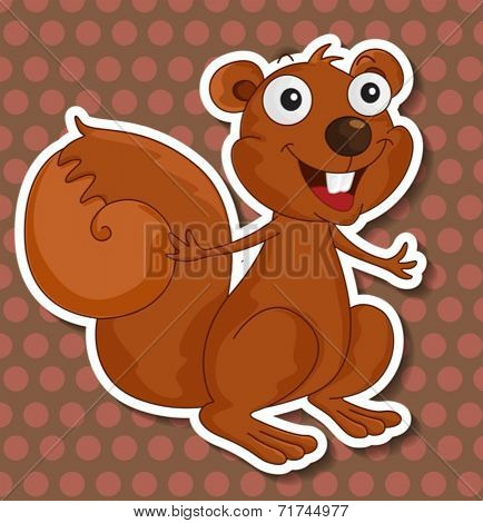 Illustration of a squirrel with polkadot background
