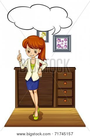Illustration of a woman standing with thinking bubble