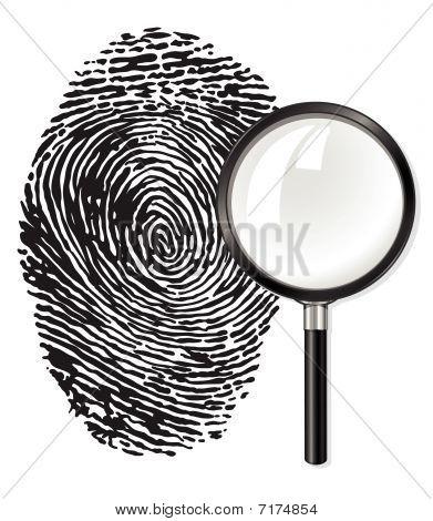 Black Fingerprint And Magnifying Glass Loupe