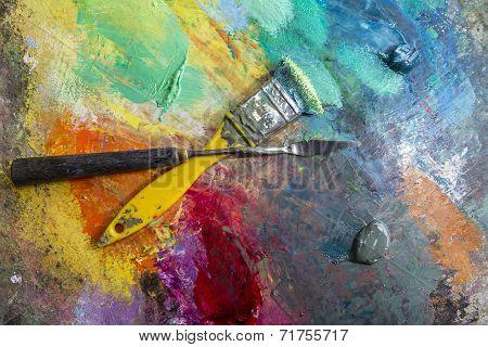Art palette with oil paints