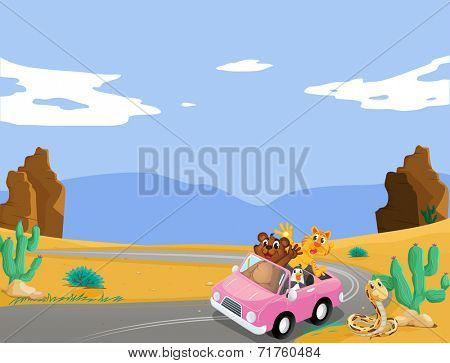Illustration of a pink car with animals travelling
