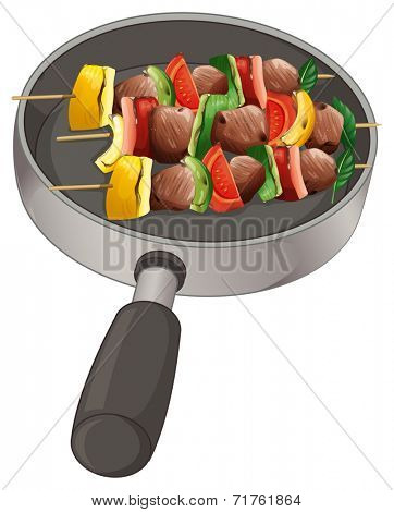 Illustration of a pan with foods on stick on a white background