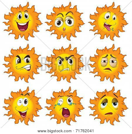 Illustration of the different facial expressions of the sun on a white background