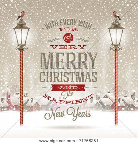 Christmas greeting type design with vintage street lantern against a winter village - holidays vector illustration poster