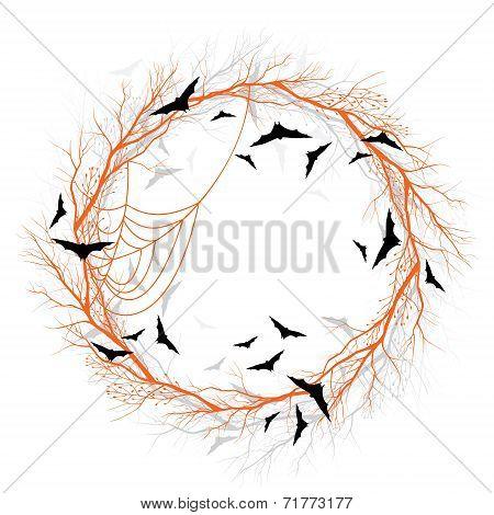 Vector Halloween orange wreath