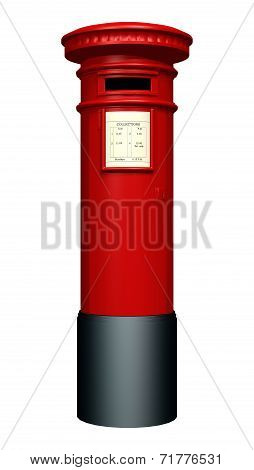 3D digital render of a red pillar mailbox isolated on white background poster