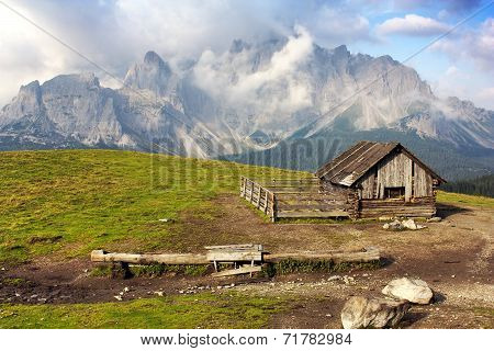 Morning View From Sexten Dolomites With Chalet