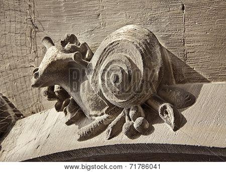 Figure Of Snail On Town Hall In Marienplatz, Munich, Germany