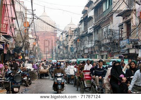 Overcrowded Street In Old Delhi