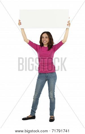Woman With A Blank Sign Board
