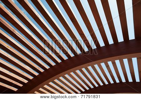 Architectural construction of wooden slats