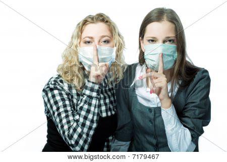 girls in medical masks