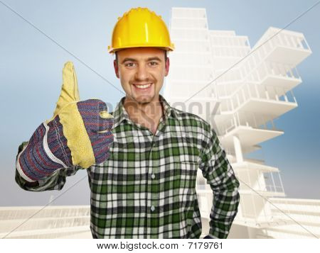 Smiling Handyman And Building Background