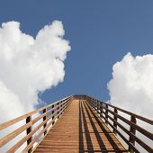 bridge into heaven sky with dreamy clouds poster