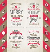 Set of Christmas type designs and flat icons with long shadow - vector holidays illustration poster