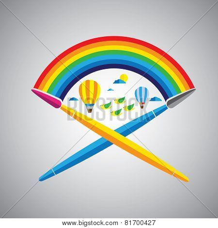 Dream Painting Brush Vector Icon In Flat Design Format With Rainbow