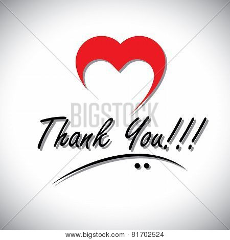 Thank You Handwritten Words Vector With Heart Or Love Icon