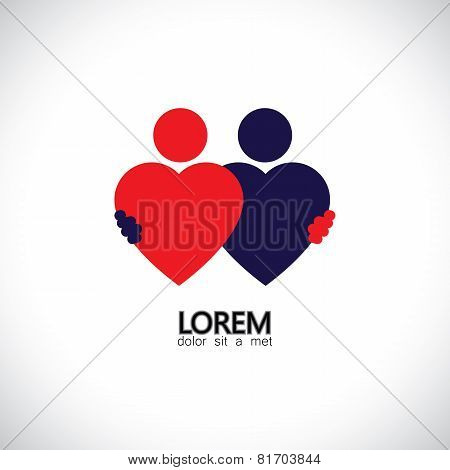 friendship friends hugging bonding concept vector icon of love of hearts. This also represents couple in love hug & embrace close friends together events like engagement marriage live-in poster