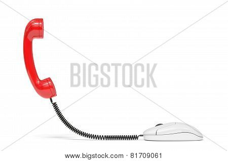 Red Phone Reciever Connected To The Computer Mouse. Service Communication Concept