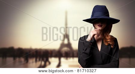 Style Women In Hat And Parisian Background