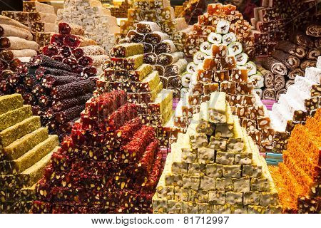 Turkish delight sweets at the Spice Market or Grand Bazaar in Istanbul Turkey poster