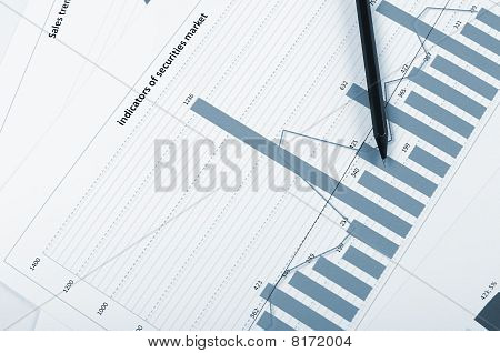 Financial business charts, graphs, diagrams showing certain trends and financial data