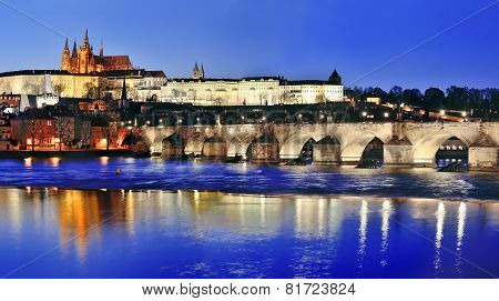 Charles Bridge (karluv Most) And Vltava River By Night, Prague