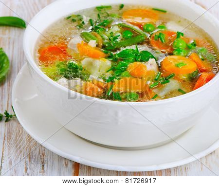 Soup On A Wooden Table