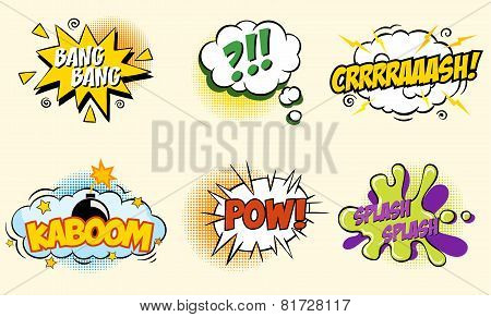 Comic speech bubbles in pop art style with bomb cartoon explosion splach powl snap boom poof text se