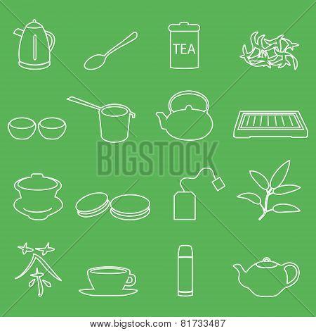 White Tea Outline Icons On Green Background Eps10