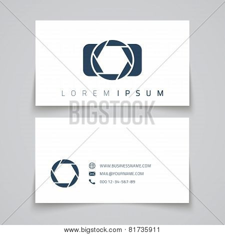 Business card template. Camera conceptl logo