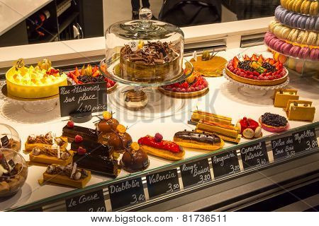 Pastry shop with variety of cakes